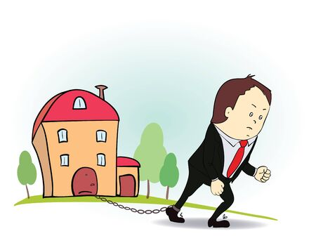 obligations: Cartoon character with iron chain and house. Colorful illustration of man and real estate in credit