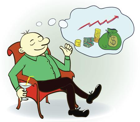 Man dream about money. Concept. Vector illustration Illustration