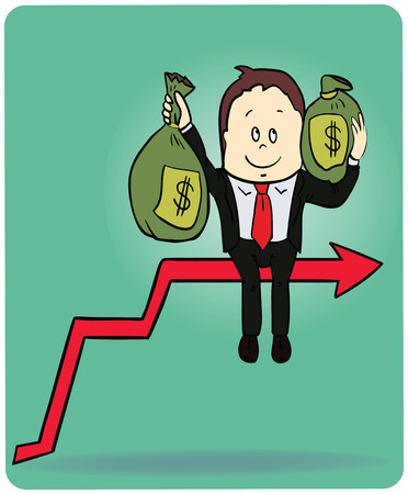 Cartoon businessman carrying the bag of money on the top graph, vector illustration. Vector