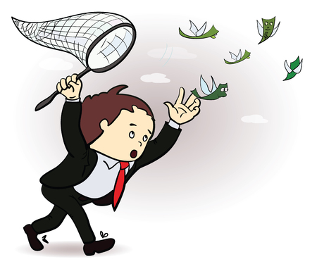 businessman catch a money illustration. Manager Chasing Flying Money. Vector Stock Illustratie