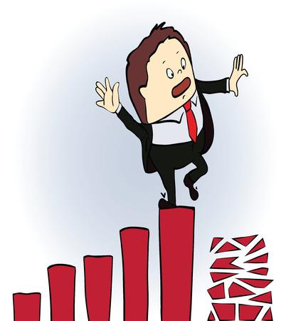 frightened businessman on a chart going down, Cartoon vector illustration Illustration