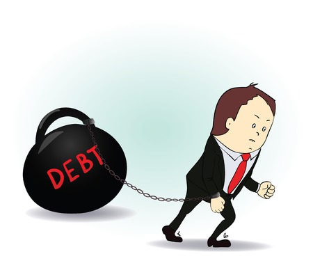 Business man burdened with Debt illustration business. Vector Vector