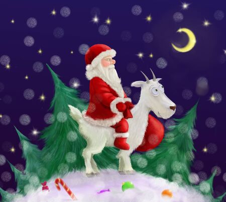 New Year cartoon illustration. Christmas card with Santa Claus, goat, christmas tree, snow and gifts.