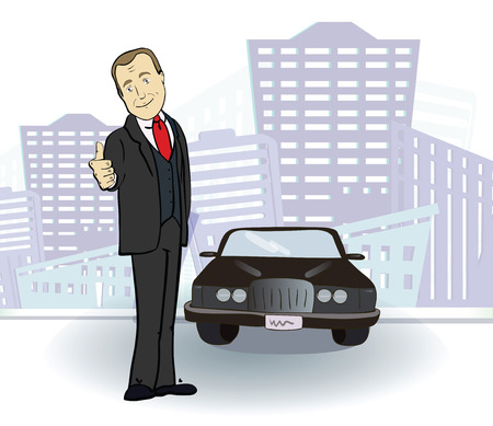 Businessman and car in the city Stock Illustratie