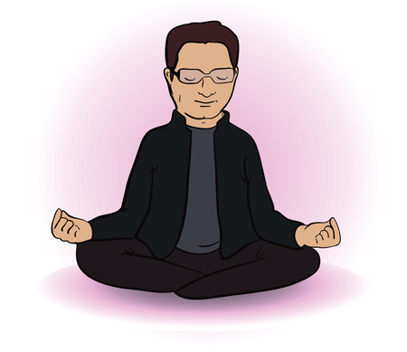 Calm  indian man sitting in lotus pose on white background. Vector illustration. Cartoon image