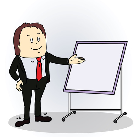 Vector illustration of a color cartoon character. Friendly businessman pointing to blank billboard