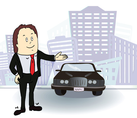 Businessman and  car. Rich man in the city. Vector .Cartoon image Stock Illustratie