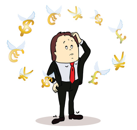 body language: business man standing, watching for flying currency icons. White background. Banking, exchange rate concept, economy. Facial expression, reaction, body language. Illustration of thinking trader.