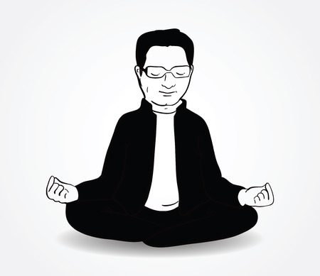 Calm  indian man sitting in lotus pose on white background. Vector illustration. Hand drawn image