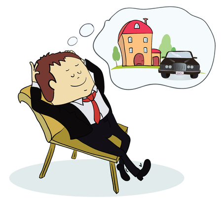 Man dreaming house and car. Concept for credit or mortgage. Vector illustration