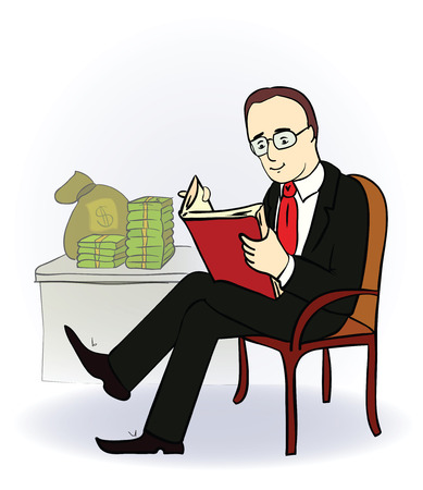 wealthy lifestyle: businessman with a book near the table with money. Vector illustration. Cartoon image