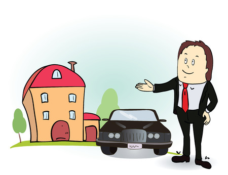 Man indicates his hands on the house and car. Vector illustration. Colorful cartoon image