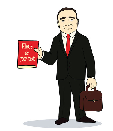 Vector illustration of Cartoon standing businessman.  Boss holding book and suitcase. Image with place for text Stock Illustratie