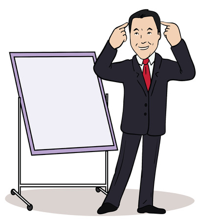 career coach: Vector illustration of a color cartoon character. Thinking friendly businessman pointing to blank billboard