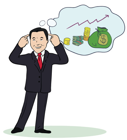 Illustration of smiling businessman standing think about money.Successful business concept, make right decisions. Vector.  Drawn colorful cartoon image.