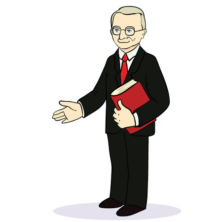 Man gives a hand for a handshake. Businessman gives a hand for the welcome. Vector illustration.