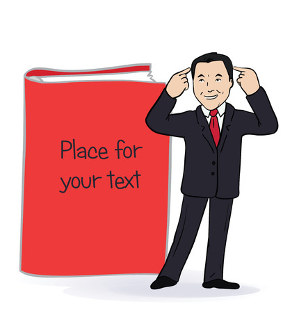 Illustration of smiling businessman standing near the big book. Card with place for text. Vector Stock Illustratie