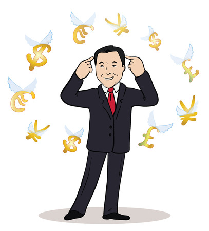 business man standing, watching for flying currency icons. White background. Banking, exchange rate concept, economy. Facial expression, reaction, body language. Illustration of thinking trader.