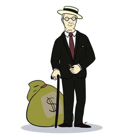 old rich man with sack of money.  Illustration of trader or businessman. Vector Vector