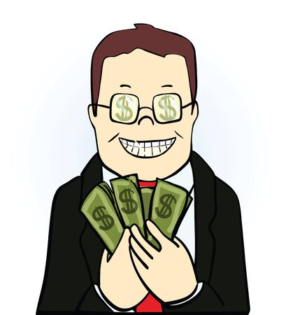 eager: Smiling man in suit and glasses, holding  dollars isolated on white background. Vector illustration
