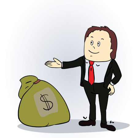 Business man with sack of money.   Vector illustration