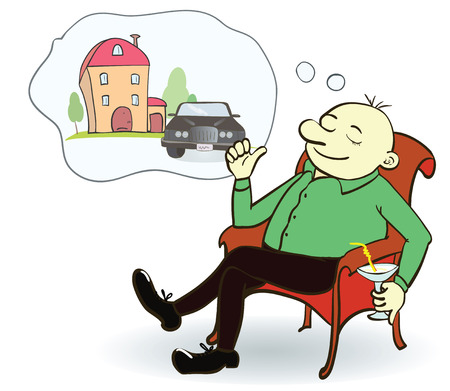 day dream: Man dreaming house and car. Concept for credit or mortgage. Vector illustration