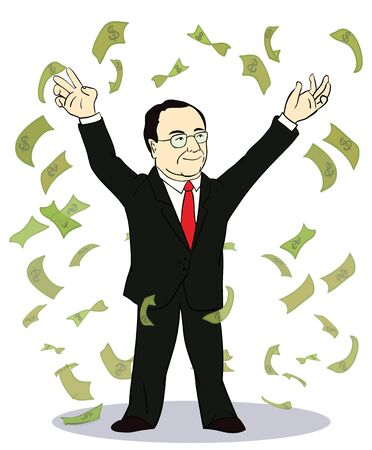 bank notes: businessman throwing bank notes. Vector illustration of old rich businessman with money