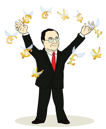 speculative: business man standing, watching for flying currency icons.Banking, exchange rate concept, economy. Facial expression, reaction, body language. Illustration of thinking trader. Illustration