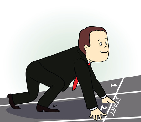 Young  businessman standing in start position. Man in determined. Cartoon image. Vector illustration Stock Illustratie