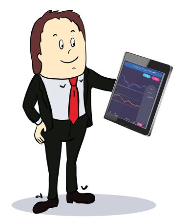 Businessman pointing to the screen of a tablet-pc with diagrams.  vector illustration Stock Illustratie