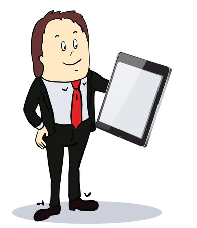 Businessman pointing to the screen of a tablet-pc with diagrams.  vector illustration with place for text
