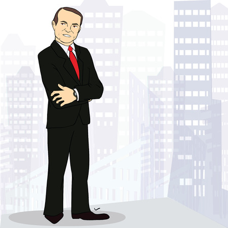 experienced: Full body portrait of  experienced and confident business man. Image with place for text. Colorfull Vector  illustration