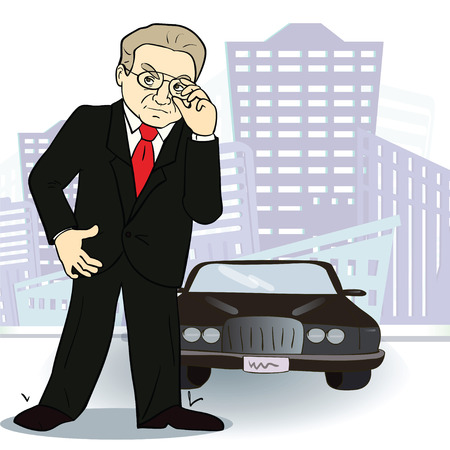 Businessman and  car. Rich man in the city. Vector .Cartoon image Vector