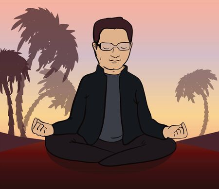 Man meditates in the nature. Calm  indian person sitting in lotus pose. Vector illustration.