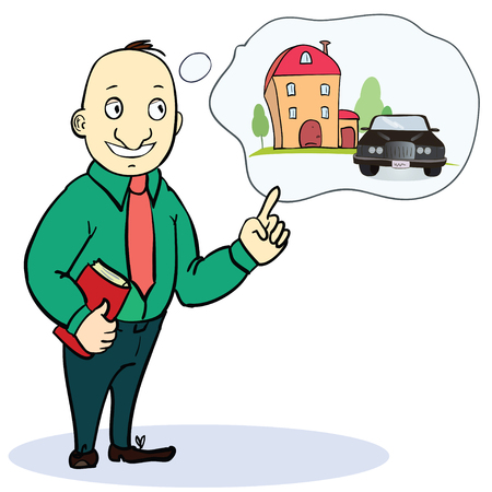 Mortgage and credit concept. Man planning his future. Vector illustration