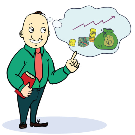 Man dream about money. Concept cartoon image. Vector illustration Stock Illustratie