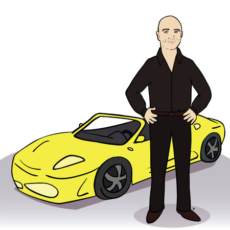 Yellow car and man. Colorful vector illustration