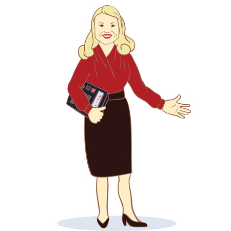 Accountant. Illustration Featuring a Female Accountant. Vector image Stock Illustratie