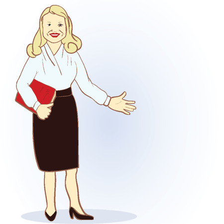 deficit: Illustration Featuring a Female Accountant. Vector image. Cartoon character