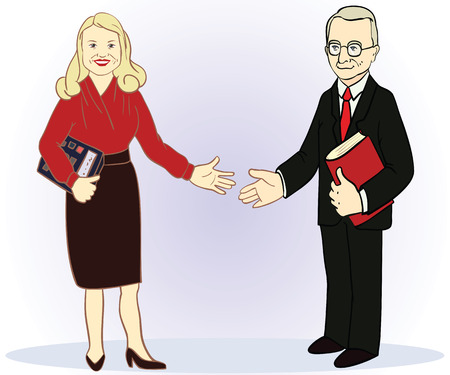 Full length business couple. Colour vector illustration