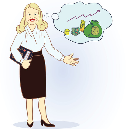 Business woman with a calculator and a full bag of money. vector illustration Stock Illustratie