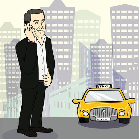catching taxi: Man in suit catching taxi on the street. Cartoon vector illustration