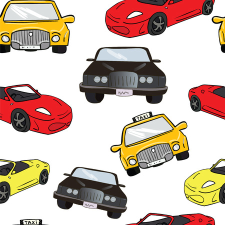 Vector seamless background. Cars. Color illustration. Transport. Taxi, Ferrari, comfortable car. Stock Illustratie