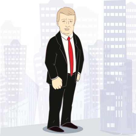 Confidently businessman. Illustration of white rich man on background of big city. Template with place for text. Vector illustration