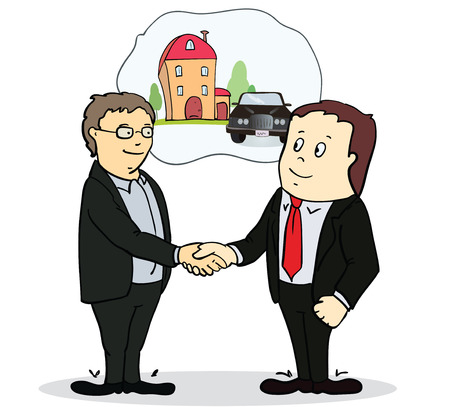 Full length portrait of two businessman shaking hands in making a deal or an agreement. vector illustration Stock Illustratie