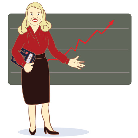 A woman with a calculator stands near the diagram of the arrow. Vector illustration. Concept Stock Illustratie