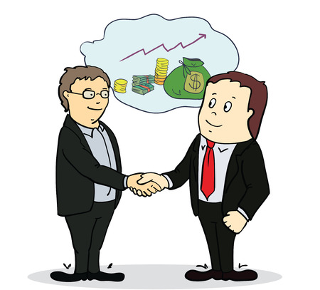 Full length portrait of two businessman shaking hands in making a deal or an agreement. vector