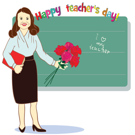 Happy teacher day. Template for card. Vector illustration for greeting from student with flowers