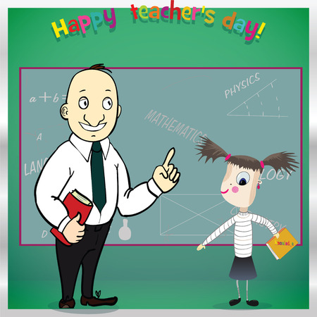 Happy teacher's day. Template for card. Vector illustration for greeting from student