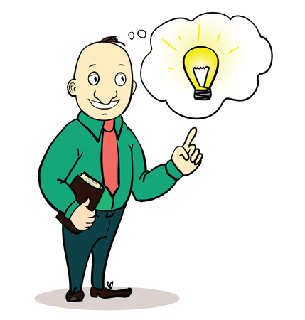 Vector illustration of a creative cartoon businessman pointing at light bulb as a symbol of having an idea. concept